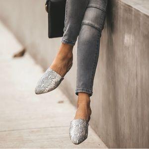 Shoes - Snake skin animal prints flats slip on mules